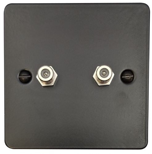 G&H FFB237 Flat Plate Matt Black 2 Gang Satellite Socket Point